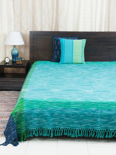 Fabindia Blue Woven Design Cotton Double Bed Cover