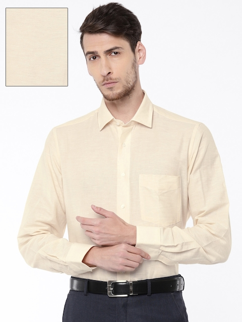 Van Heusen Men Beige Custom Slim Fit Solid Formal Shirt