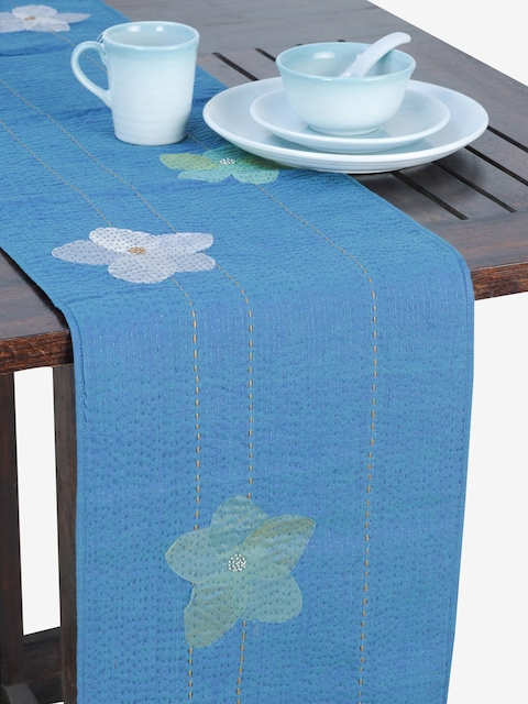 "Fabindia Blue Floral Print Rectangular 12.7"" x 70"" Cotton Table Runner"