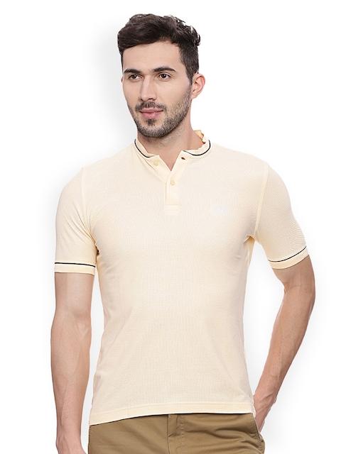 Van Heusen Sport Men Beige Solid Mandarin Collar T-shirt