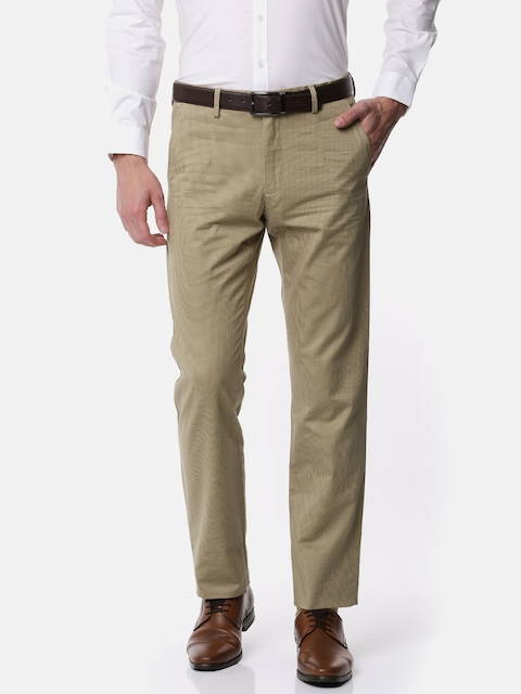 Van Heusen Men Beige Slim Fit Checked Formal Trousers