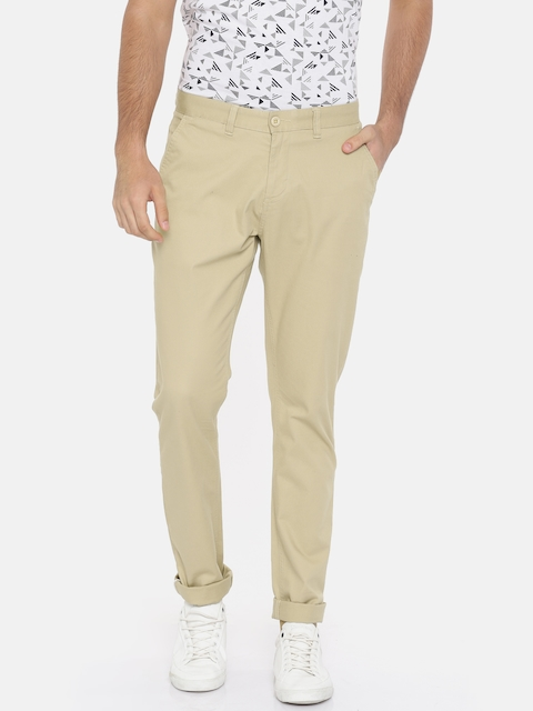 Van Heusen Sport Men Beige Tapered Fit Self Design Regular Trousers