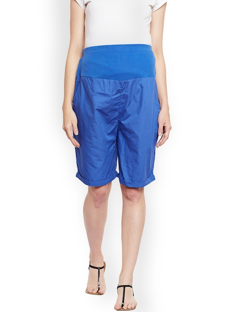 Oxolloxo Women Blue Solid Regular Fit Maternity Shorts