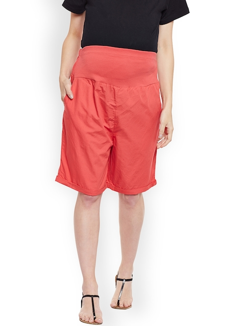 Oxolloxo Women Red Solid Regular Fit Maternity Shorts