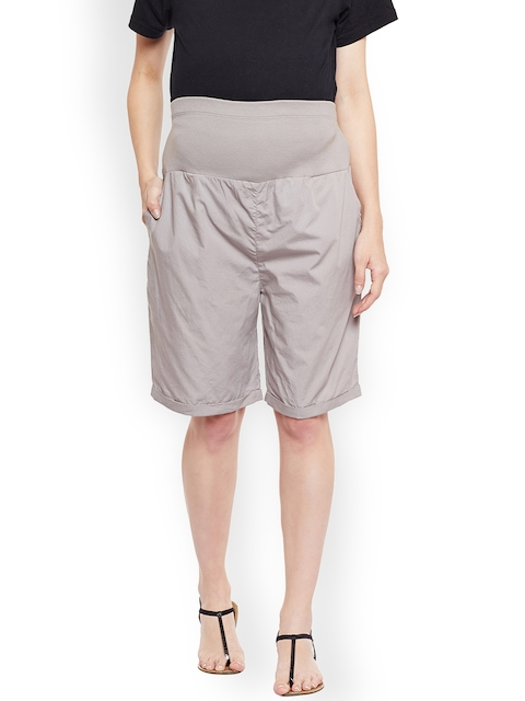Oxolloxo Women Grey Solid Regular Fit Maternity Shorts