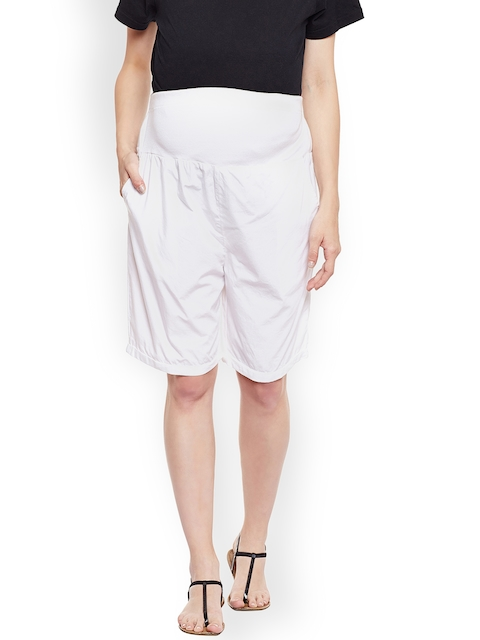 Oxolloxo Women White Solid Regular Fit Maternity Shorts