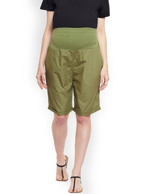 Oxolloxo Women Olive Green Solid Regular Fit Maternity Shorts