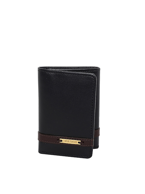Hidesign Men Black Leather Solid Three Fold Wallet