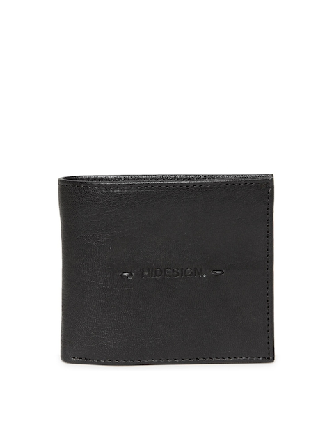 Hidesign Men Black Solid Handcrafted Natural Leather Two Fold Wallet