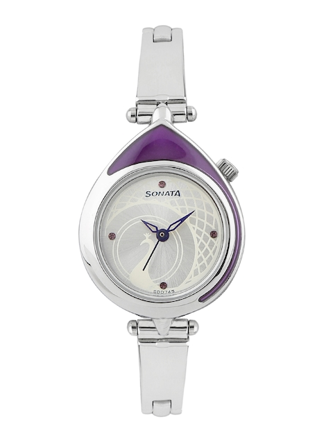 Sonata Women Silver-Toned Dial Watch 8119SM01