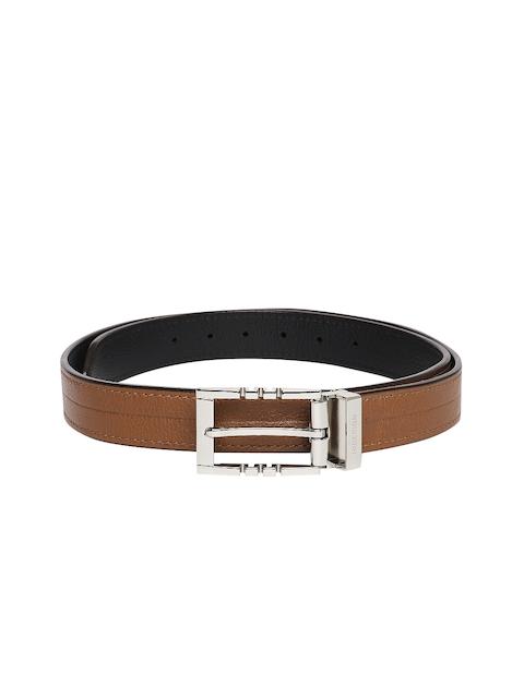 Hidesign Men Brown & Black Leather Textured Belt
