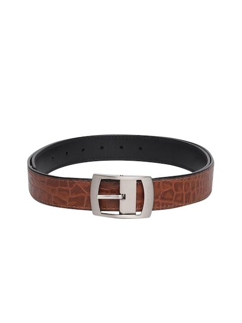 Hidesign Men Tan & Black Leather Textured Belt