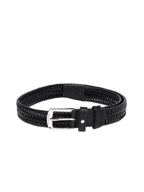 Hidesign Men Black Woven Design Belt