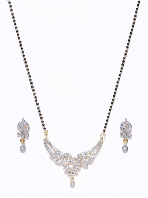 Priyaasi Black Gold-Plated Beaded American Diamond-Studded Mangalsutra with Earrings Set