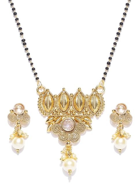 Priyaasi Black Gold-Plated Beaded Kundan Polki Mangalsutra with Earrings Set