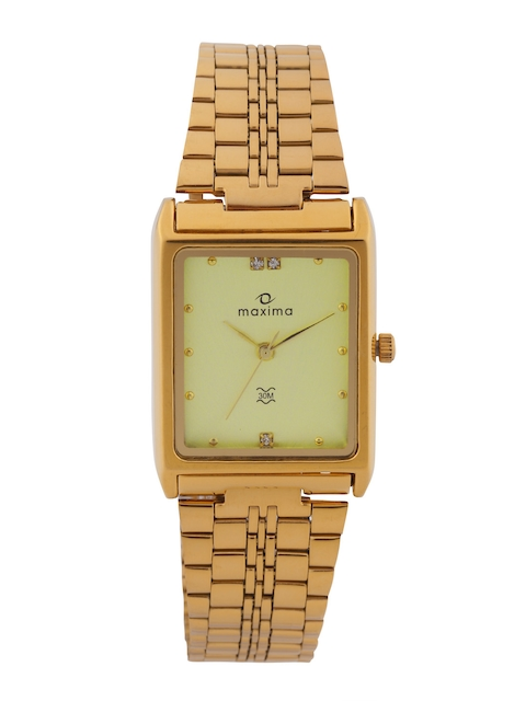 maxima Men Gold-Toned Dial Watch 06105CMGY