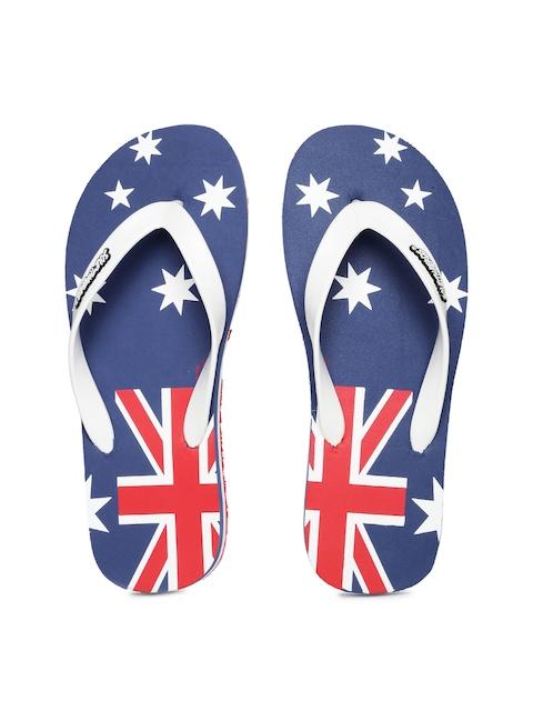 Sole Threads Men White & Blue Printed Aussie Flip-Flops