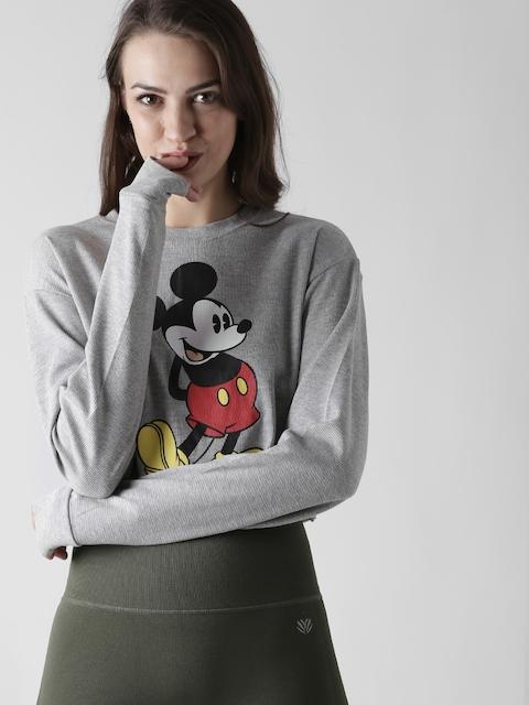 FOREVER 21 Women Grey Printed Crop Sweatshirt