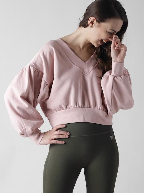 FOREVER 21 Women Pink Solid Crop Sweatshirt