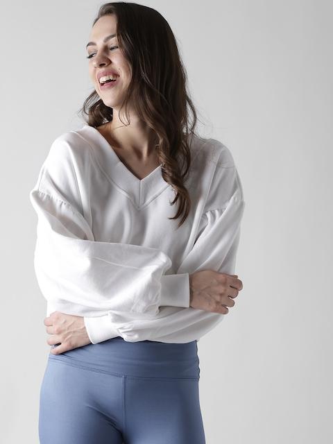 FOREVER 21 Women White Crop Sweatshirt