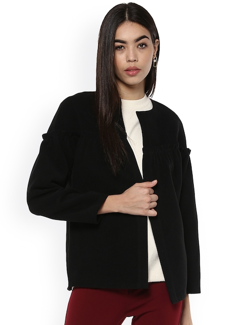 Kazo Women Black Solid Open Front Jacket