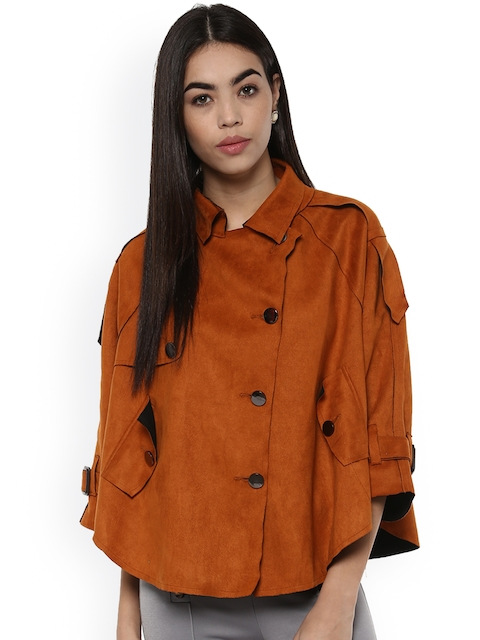 Kazo Women Brown Solid Cape Jacket
