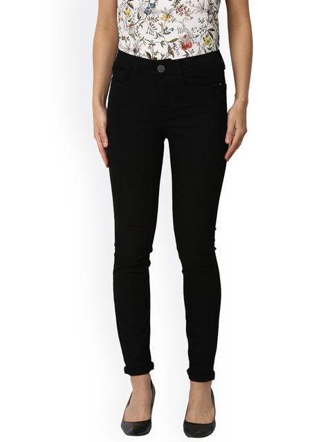 Van Heusen Woman Women Black Slim Fit Mid-Rise Clean Look Stretchable Jeans