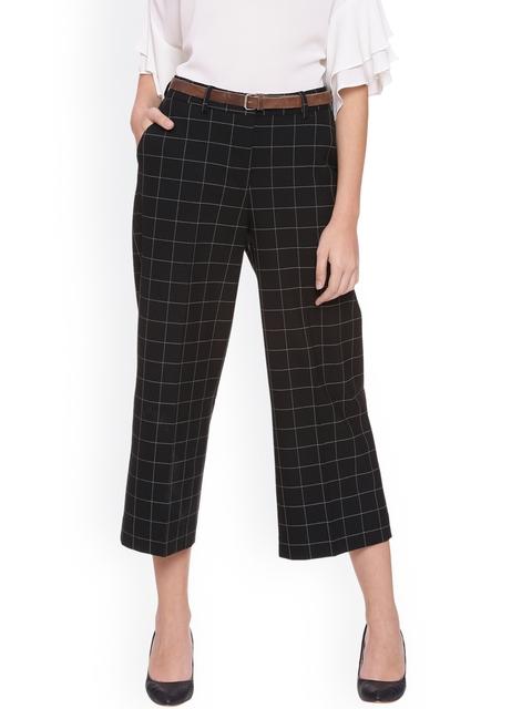 Van Heusen Woman Women Black Regular Fit Checked Culottes