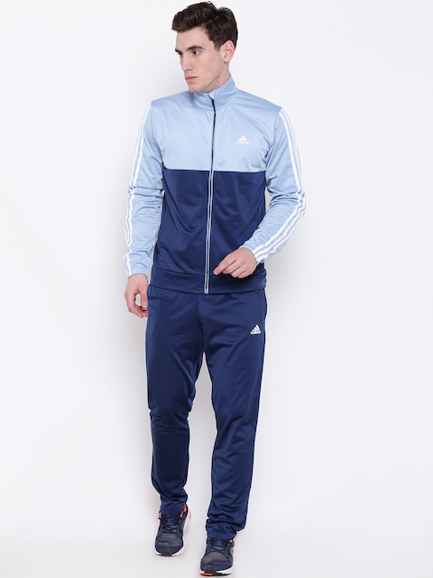 Adidas Men Blue BACK2BAS 3 Striped Colourblocked Tracksuit