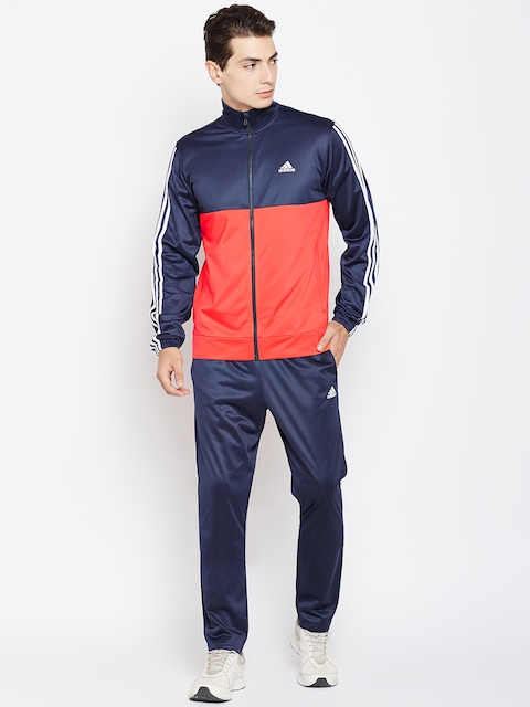 Adidas Men Navy & Red BACK2BAS 3S Colourblocked Tracksuit