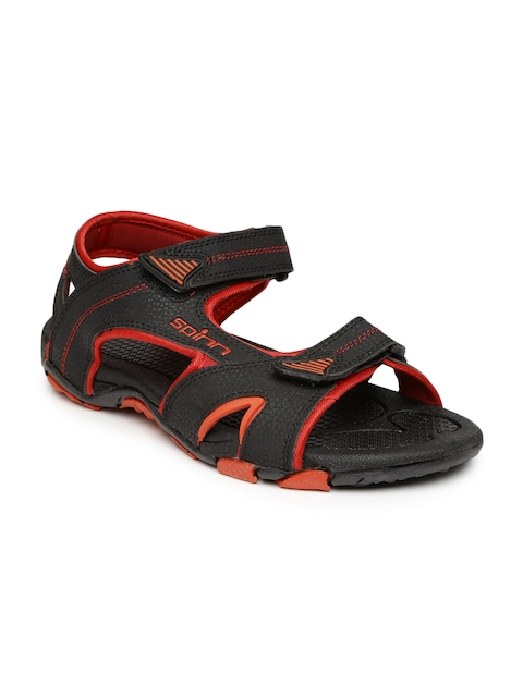 Spinn Men Black & Red Sports Sandals
