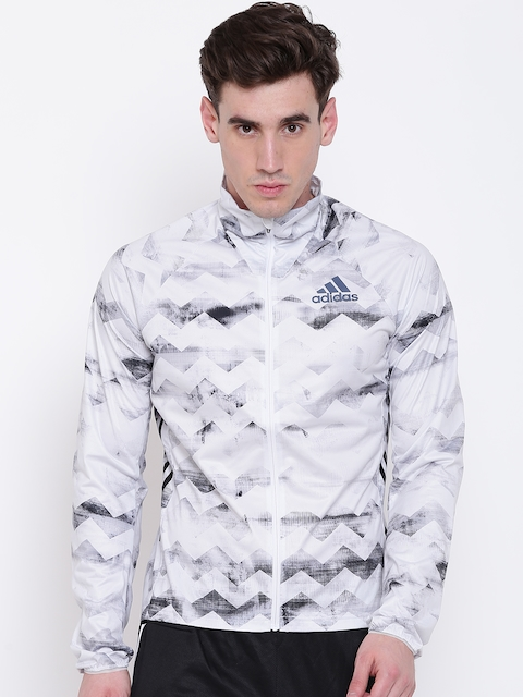 Adidas Men White & Black Printed ADIZERO Running Track Jacket