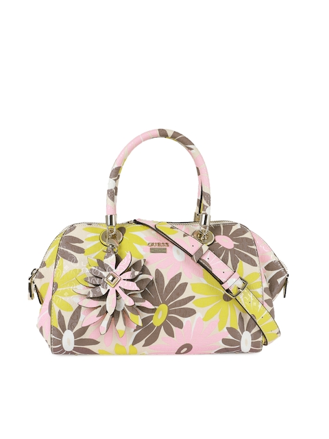 GUESS Multicoloured Printed Leather Handheld Bag
