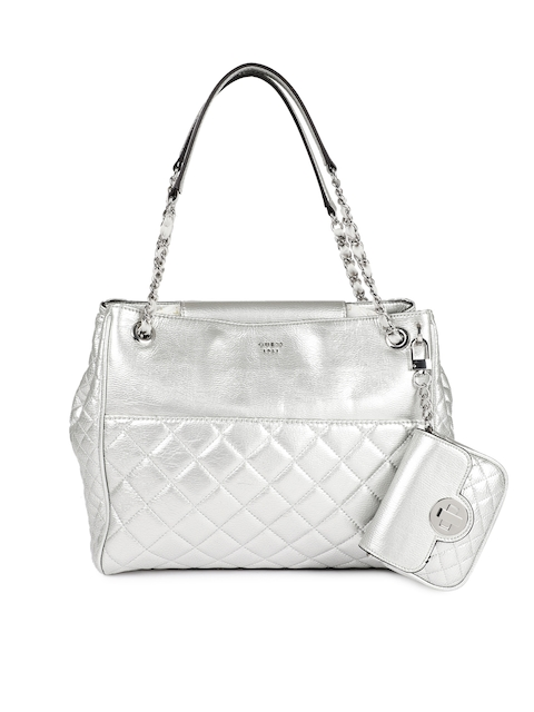GUESS Silver-Toned Textured Leather Shoulder Bag