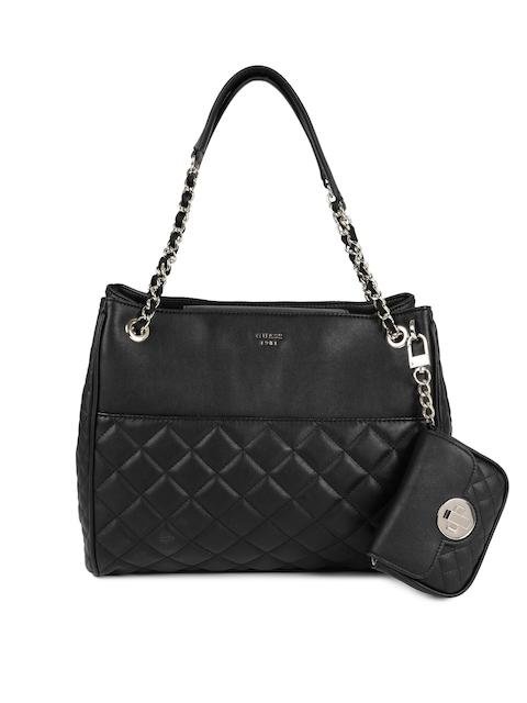 GUESS Black Textured Leather Shoulder Bag