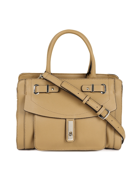 GUESS Brown Solid Leather Handheld Bag