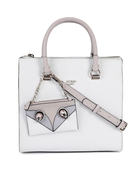 GUESS White Solid Leather Handhel Bag