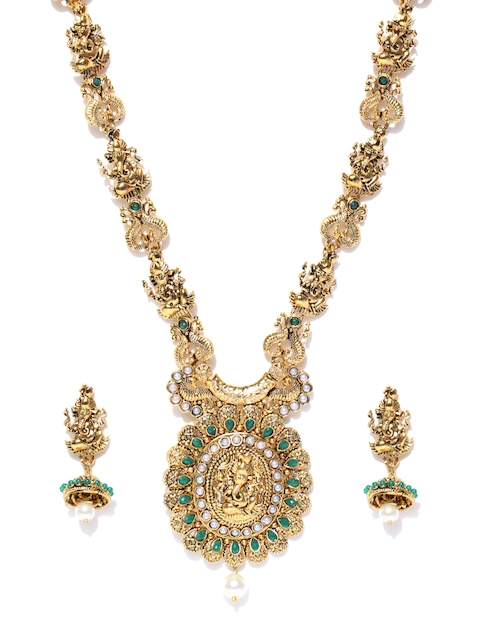 Zaveri Pearls Antique Gold-Toned & Green Lord Ganesha Stone-Studded Jewellery Set