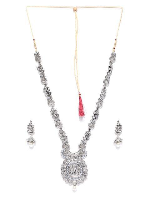 Zaveri Pearls Oxidised Silver-Toned Stone-Studded Lord Ganesha Temple Jewellery Set
