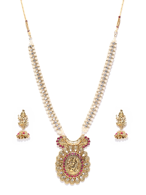 Zaveri Pearls Antique Gold-Toned Stone-Studded Lord Ganesha Temple Jewellery Set
