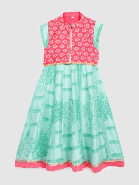 YK Girls Green & Pink Printed A-Line Kurta