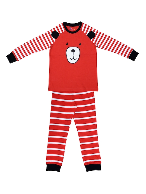 ventra Boys Red & White Striped Night suit