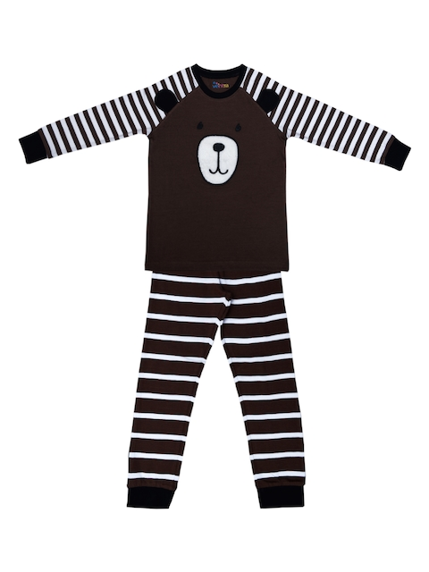 ventra Boys Brown Striped Night suit