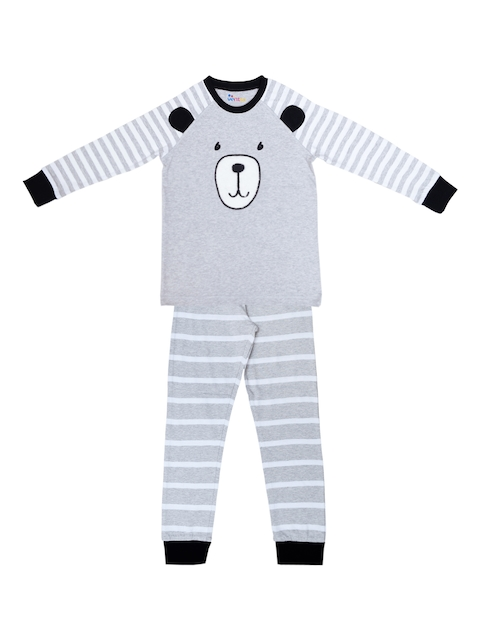 ventra Boys Grey Striped Night suit