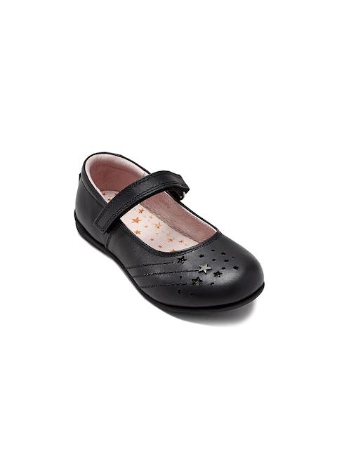 next Girls Black Solid Leather Ballerinas