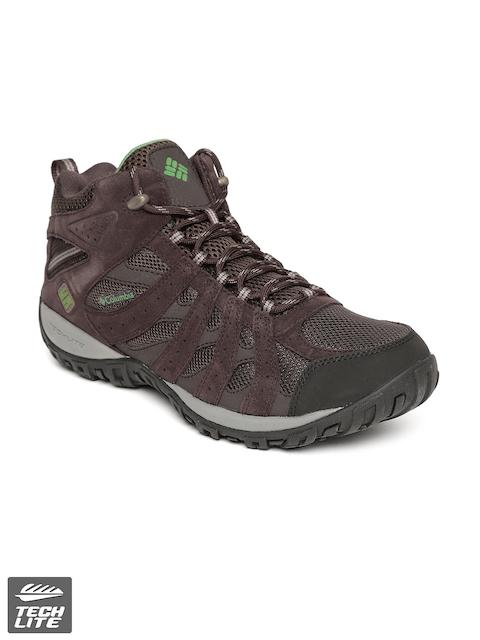 Columbia Men Coffee Brown REDMOND Mid Waterproof Suede Leather Hiking Shoes