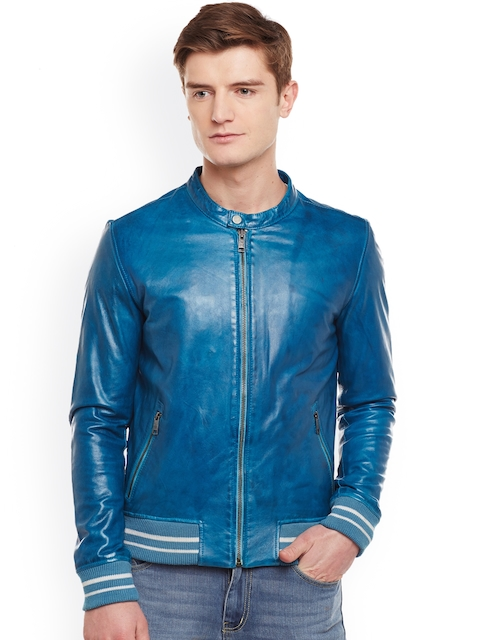 BARESKIN Men Blue Solid Lightweight Leather Jacket