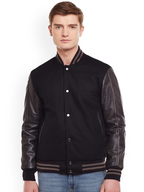 BARESKIN Men Black Solid Lightweight Sporty Leather Jacket