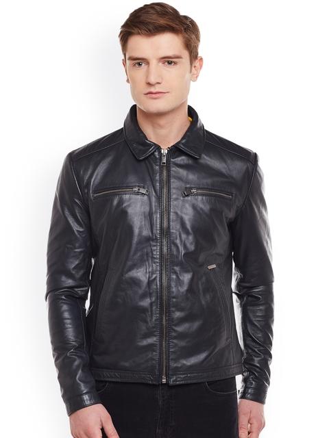 BARESKIN Men Black Solid Lightweight Leather Jacket