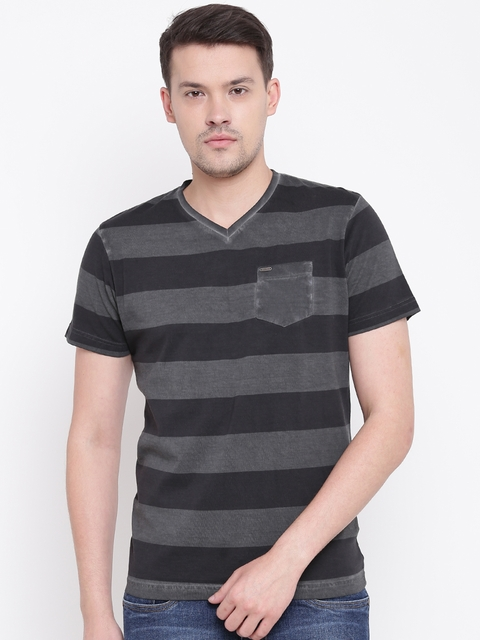 Numero Uno Men Charcoal Grey & Black Striped V-Neck T-shirt